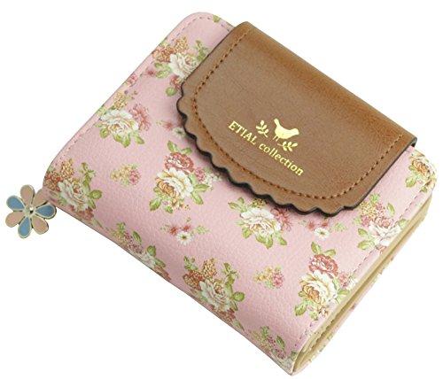 (ETIAL Women's Vintage Floral Zip Mini Wallet Short Design Coin Purse Pink)