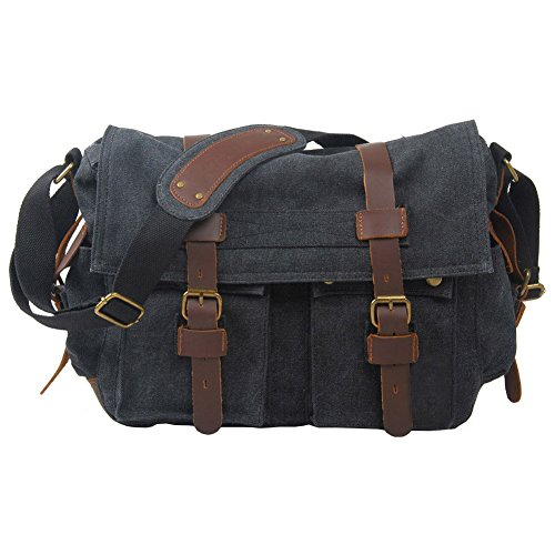VRIKOO Vintage Military Canvas Crossbody Sports Casual Shoulder Bags Satchel School Messenger Bag (Carbon Black) Negro Carbón