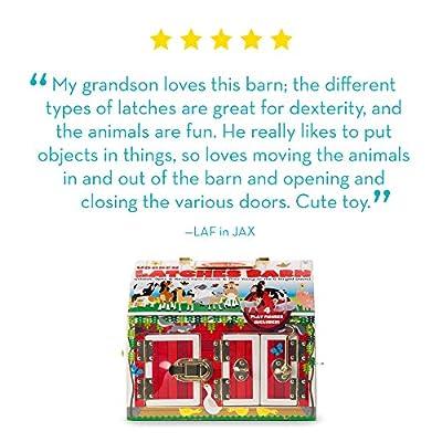 Melissa & Doug Latches Barn Toy (Developmental Toy, Helps Improve Fine Motor Skills, Painted Wood Barn, 10.5