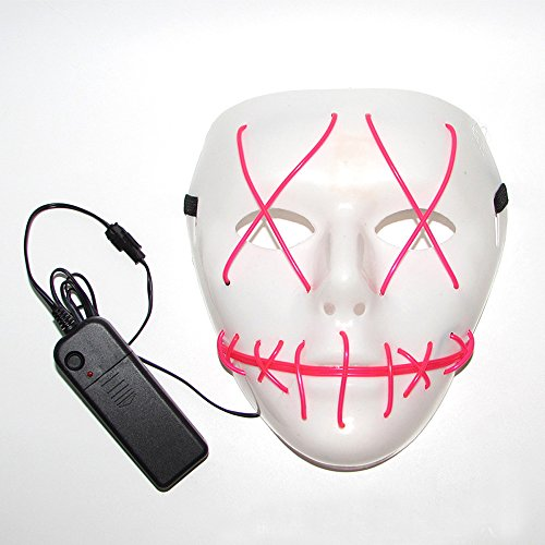 Party City Cheap Costumes (Scary Led Light Up Purge Costumes Glow Stick Party City Mask for Parties Festival Halloween Costume by Magical Imaginary (Red))