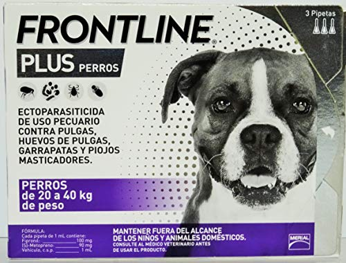 Frontline Plus for Dogs Large Dog (45 to 88 pounds) Flea and Tick Treatment, 3 Doses