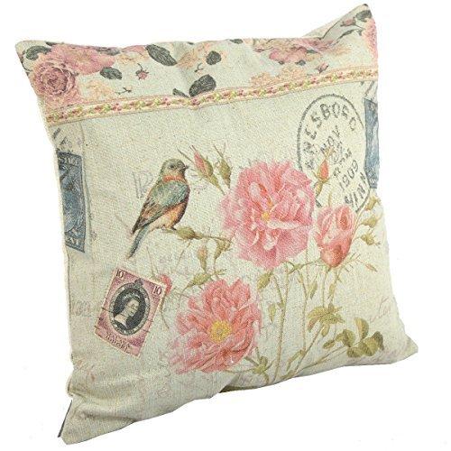 Price comparison product image Create For-Life Cotton Linen Decorative Pillowcase Throw Pillow Cushion Cover Square 18 Bird Pretty Pink Blossoms Color: AL-F0029-s Size: Standard, Model: 45cm x 45cm