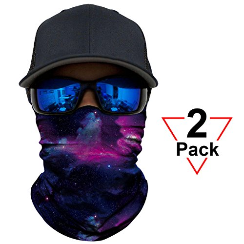 AXBXCX 2 Pack - Versatile Galaxy Print Balaclava Neckerchief Face Mask Bandanas Headband Sweatband for Outdoor Sport Music Festivals Raves Hunting Skiing Snowboarding Running 021