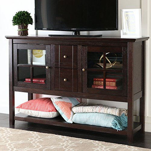 "WE Furniture Espresso 52"" Modern Console Table Wood TV Stand Console for Flat Screen TV's Up to 65"" Entertainment Center"