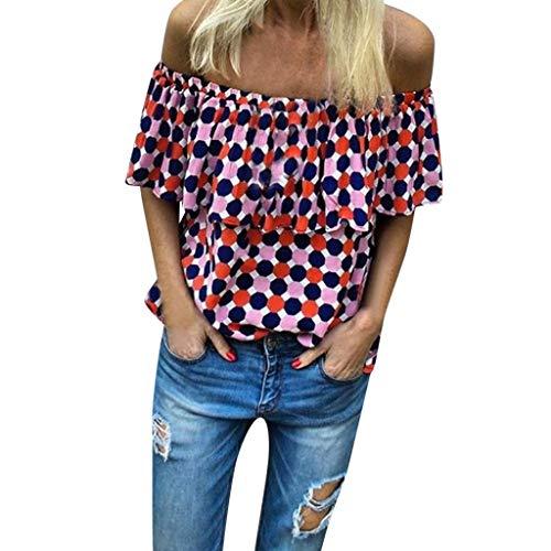 Sunhusing Womens Sexy Off-Shoulder Ruffled Short-Sleeve Shirt Gradient Polka Wavy Dot Print Slim T-Shirt Red