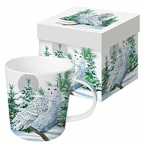 Paperproducts Design 602625 Gift-Boxed Porcelain Mug, 13.5 oz, Snow Owl, - Design Collection Details