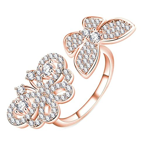 [MoAndy Rose Gold Double Butterfly Multi-Paved Zirconia Wedding Engagement Ring For Womens Size 9] (Gold Antler Crown)