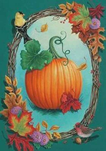 Pumpkin Vines Oval Frame Fall Leaves Birds Large Flag
