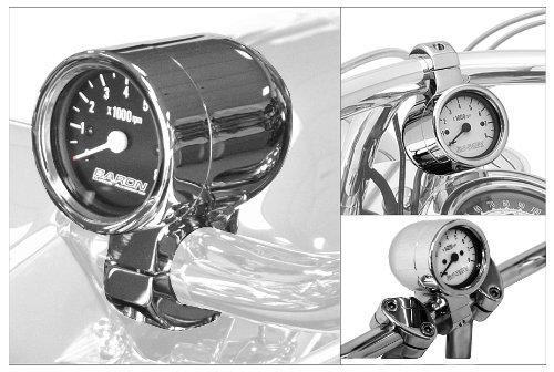 Baron Custom Accessories Bullet Tachometer - 1 1/4in. - Black Face BA-7576-U by Baron Custom Accessories