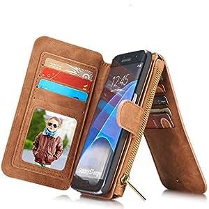 urchoiceltd® Zipper Wallet–Funda de piel desmontable carcasa funda para iPHONE 66S 6Plus/Samsung galoxy S7/S7edge/Note 5/S6Edge Plus, piel sintética, marrón, iphone 6/6s