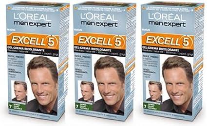 3 x l oréal paris Loreal men Expert Excell 5 Cabello Tinte ...