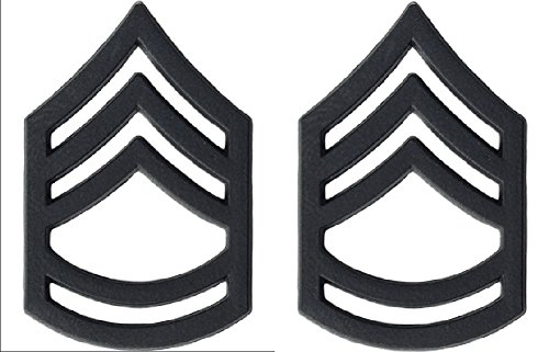 U.S. Army Metal Pin On Enlisted Rank BLACK - 1 PAIR (E7 SFC)