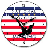 Soccer Hall of Fame 2 Wall Clock, Available in 8 sizes, Most Sizes Ship 2 - 3 days, Whisper Quiet.