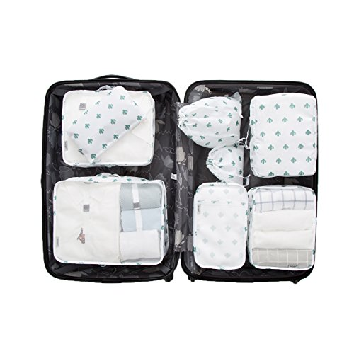 8 Pieces Packing Cubes Travel Luggage Organizer Mesh Compression Packing Bags (Style B, White Cactus) (3 Cubes Large Piece Packing)