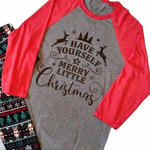 Hot Sale! Napoo Women Plus Size Christmas T-Shirt Alphabet Print Patchwork Long Sleeve Tops (XL, Grey) Thanksgiving And Christmas Funny