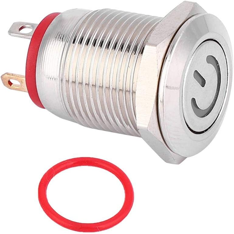 LED Light Ring 12V Lock-Free 12mm Metal Button Switch Ring and Power Shaped LED Self-Reset Red Switch,Durable.
