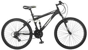 Mongoose Men's Status 2.2 Full Suspension Bicycle (26-Inch Wheels), Matte Black, 18-Inch