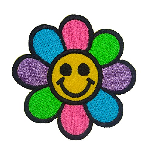 - Happy Face Daisy Flower Iron on Patches