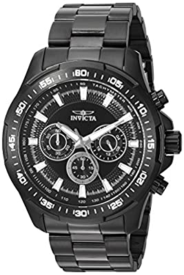Invicta Men's 'Speedway' Quartz Stainless Steel Casual Watch, Color:Black (Model: 22785)