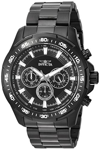 Invicta Men's Speedway Quartz Watch with Stainless-Steel Strap, Black, 24 (Model: 22785) (Large Watches Male)