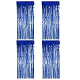 BTSD-Home Blue Foil Fringe Curtain, Metallic Photo Booth Tinsel Backdrop Door Curtains for Wedding Birthday and Special Festival Decoration(4 Pack, 12ft x 8ft)