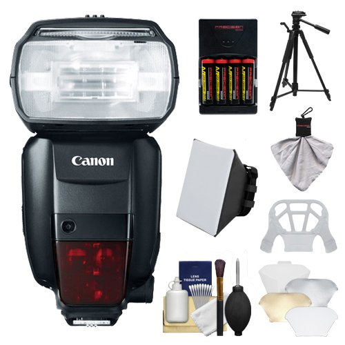 Canon Speedlite 600EX-RT Flash with Canon Tripod,Soft Box,Diffuser,4 Batteries and Charger,Accessory Kit