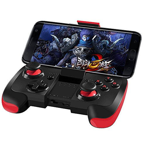 Antimi Wireless Bluetooth Game Controller with Clip for Android/Tablet/TV Box/Samsung Gear VR/Emulator(Black & Red)