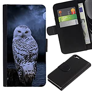 Billetera de Cuero Caso Titular de la tarjeta Carcasa Funda para Apple Iphone 6 4.7 / owl snow winter night mysterious moon / STRONG