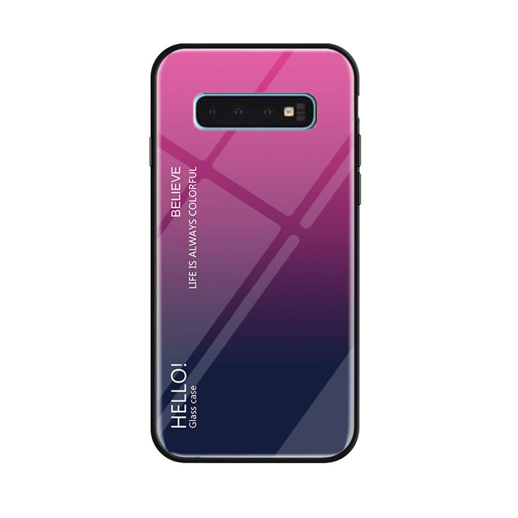 Clear Hybrid Case for Galaxy S10/S10 Plus Thin Tempered Gradient Glass Back Cover Scratch-Resistant & Soft Silicone Rubber Bumper Frame Case for Samsung Galaxy s10/S10plus (S10 Plus, Hot Pink)