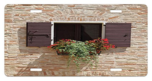 Tuscan License Plate by Lunarable, Antique Looking Window on an Ancient Stone Wall With Flowers Pienza Tuscany Picture, High Gloss Aluminum Novelty Plate, 5.88 L X 11.88 W Inches, Brown Ivory