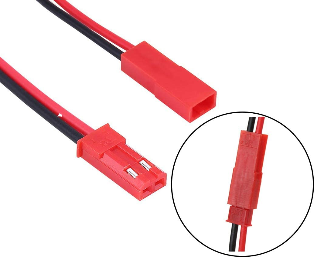 YOUKITTY 1000 Set JST 2 Pin Housing and Pin Connector Female /& Male Red Color