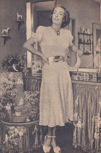 Vintage Knitting PATTERN to make - Joan Crawford Knitted Dress 1940s. NOT a finished item. This is a pattern and/or instructions to make the item only.