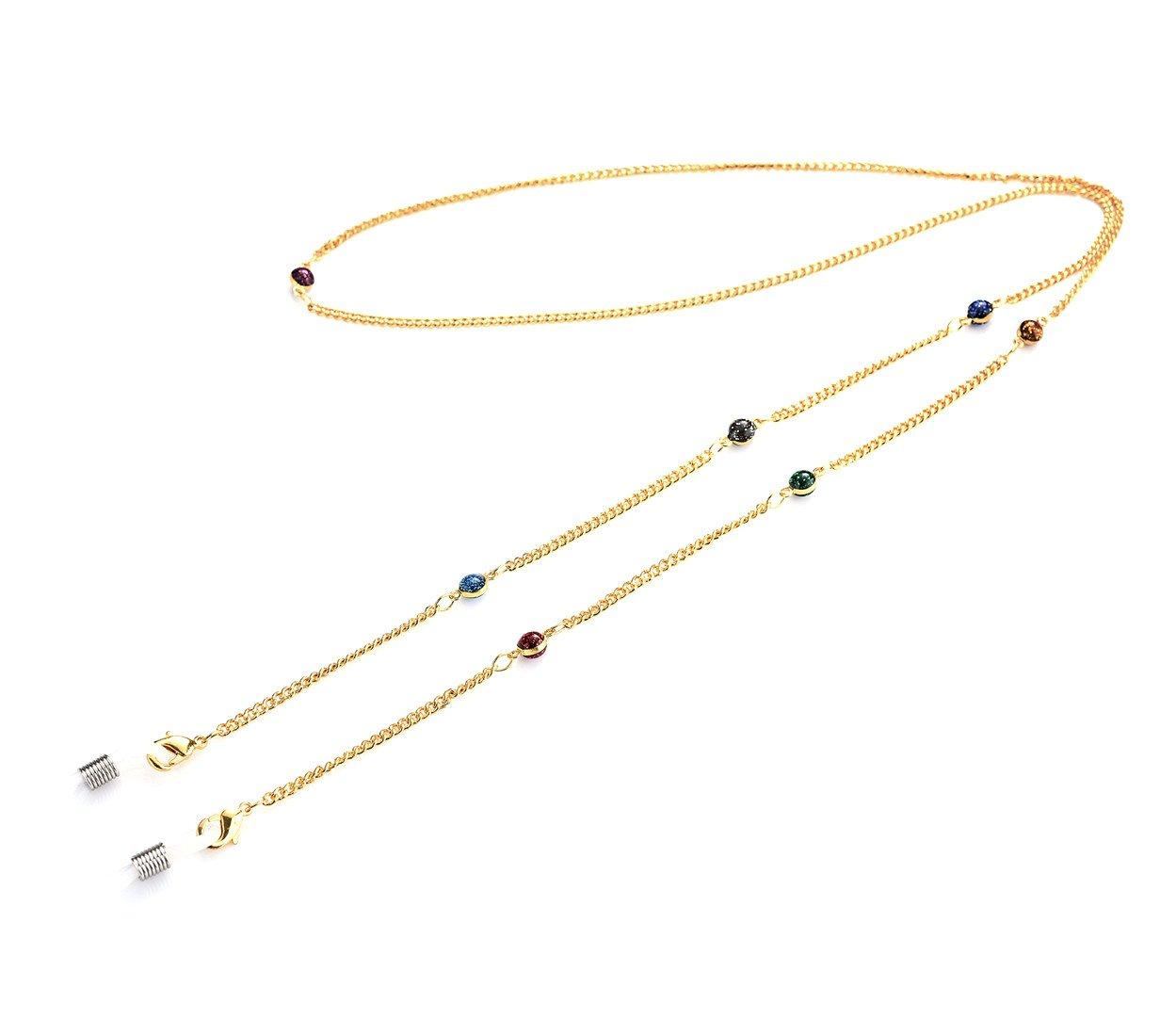 Kalevel Glasses Strap Holder Gold Beaded Eyeglass Chains for Women - Starry Sky