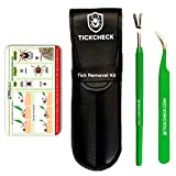 TickCheck Premium Tick Remover Kit - Stainless Steel Tick Remover + Tweezers, Leather Case Free Pocket Tick Identification Card (1 Set)