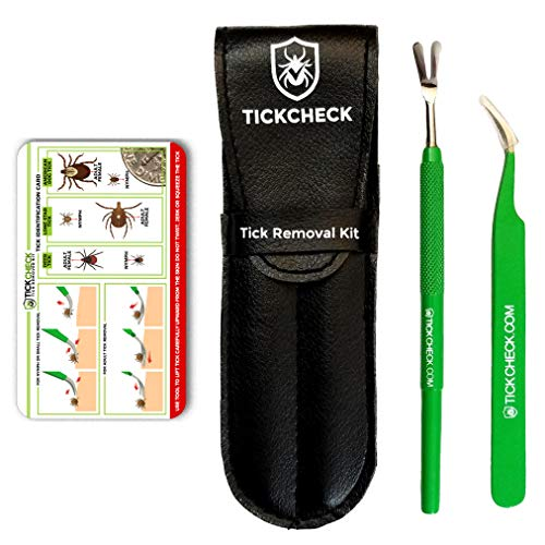- TickCheck Premium Tick Remover Kit - Stainless Steel Tick Remover + Tweezers, Leather Case, and Free Pocket Tick Identification Card (1 Set)