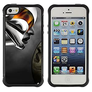 Fuerte Suave TPU GEL Caso Carcasa de Protección Funda para Apple Iphone 5 / 5S / Business Style Robot Abstract Woman