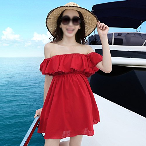 Rock Kurzer Wort Kleider Rotes Meer Frau Schulter Sommer Strandkleid Rot SqYPY4O