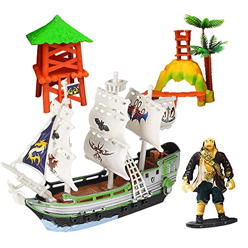 (ArtCreativity Pirate Adventure Playset for Kids - 4 Piece Set - Pirate Ship, Toy Figurine, and 2 Caribbean Island Pieces - Durable Pretend Play Kit - Best Holiday or Birthday Gift for Boys and Girls)
