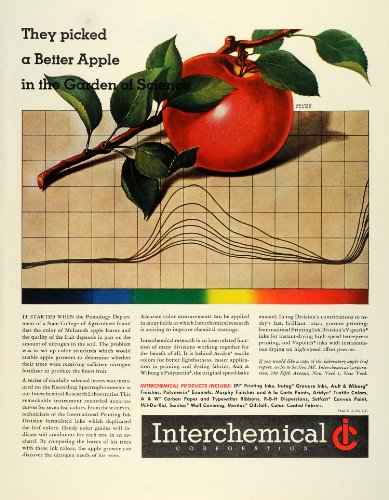 1945 Ad Interchemical Apple Leaf McIntosh Research Recording Spectrophotometer - Original Print Ad