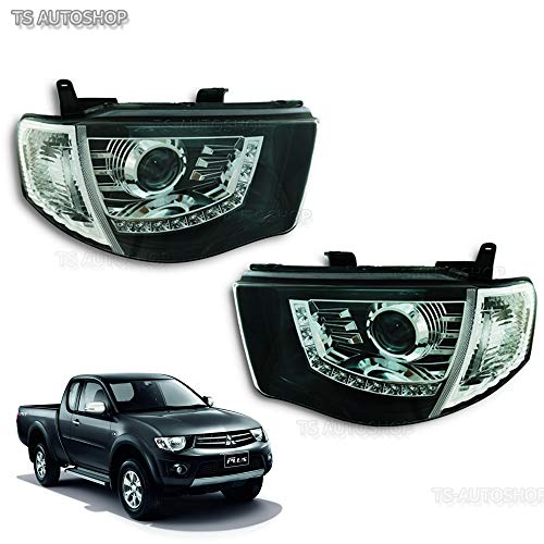 Powerwarauto Front CCFL Projector Headlight Head Lamp Light Black Smoke Lens For Mitsubishi Triton L200 MN ML 4WD 2WD 4x4 4x2 UTE Pick-Up 2006 2007 2008 2009 2010 2011 2012 2013 2014