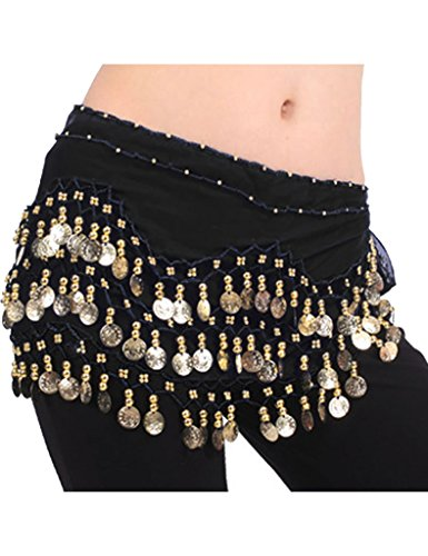 Zacoo Women's Belly Dance Scarf Costumes Hip Wrap Color Black