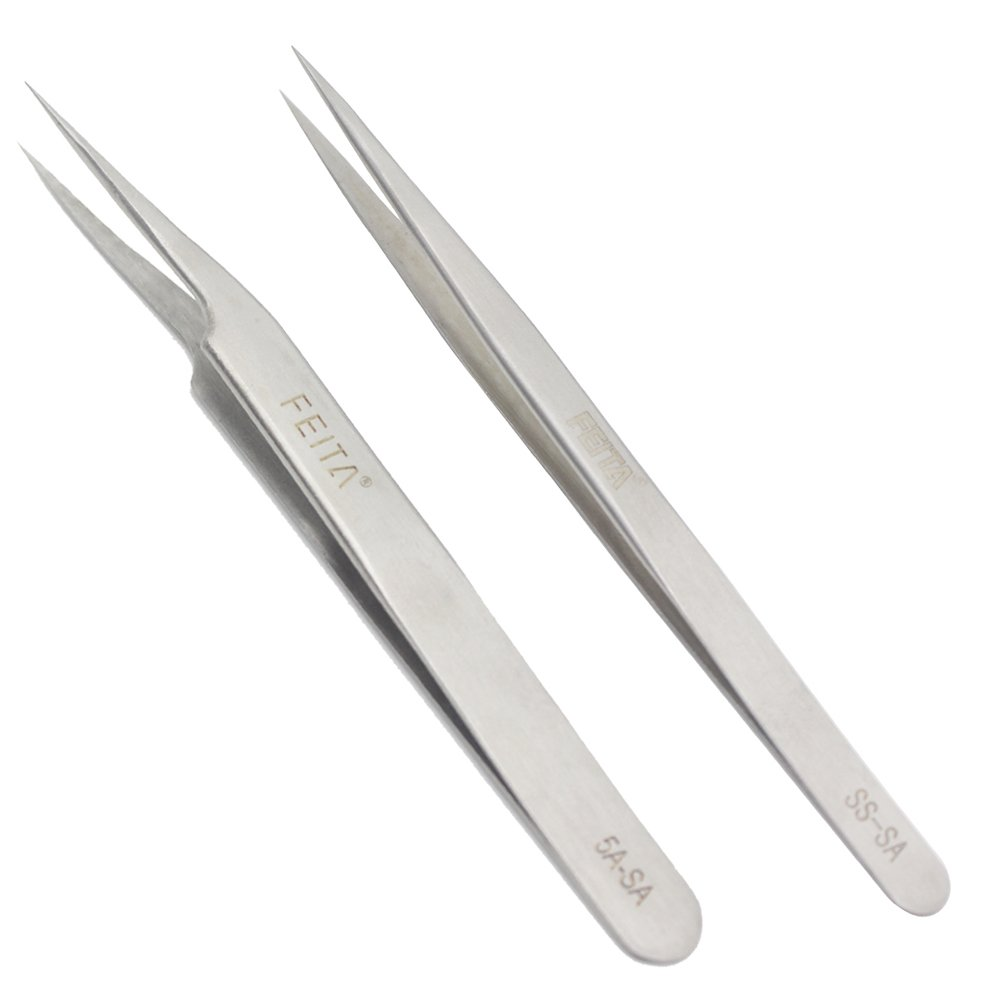 FEITA Precision Tweezers Stainless Steel Straight & Slanted Tip Best Tweezers Professional Set for Eyelash Extension, Craft, Jewelry, Eyebrow & Ingrown Hair Removal (SS&5A-SA 2Pcs)