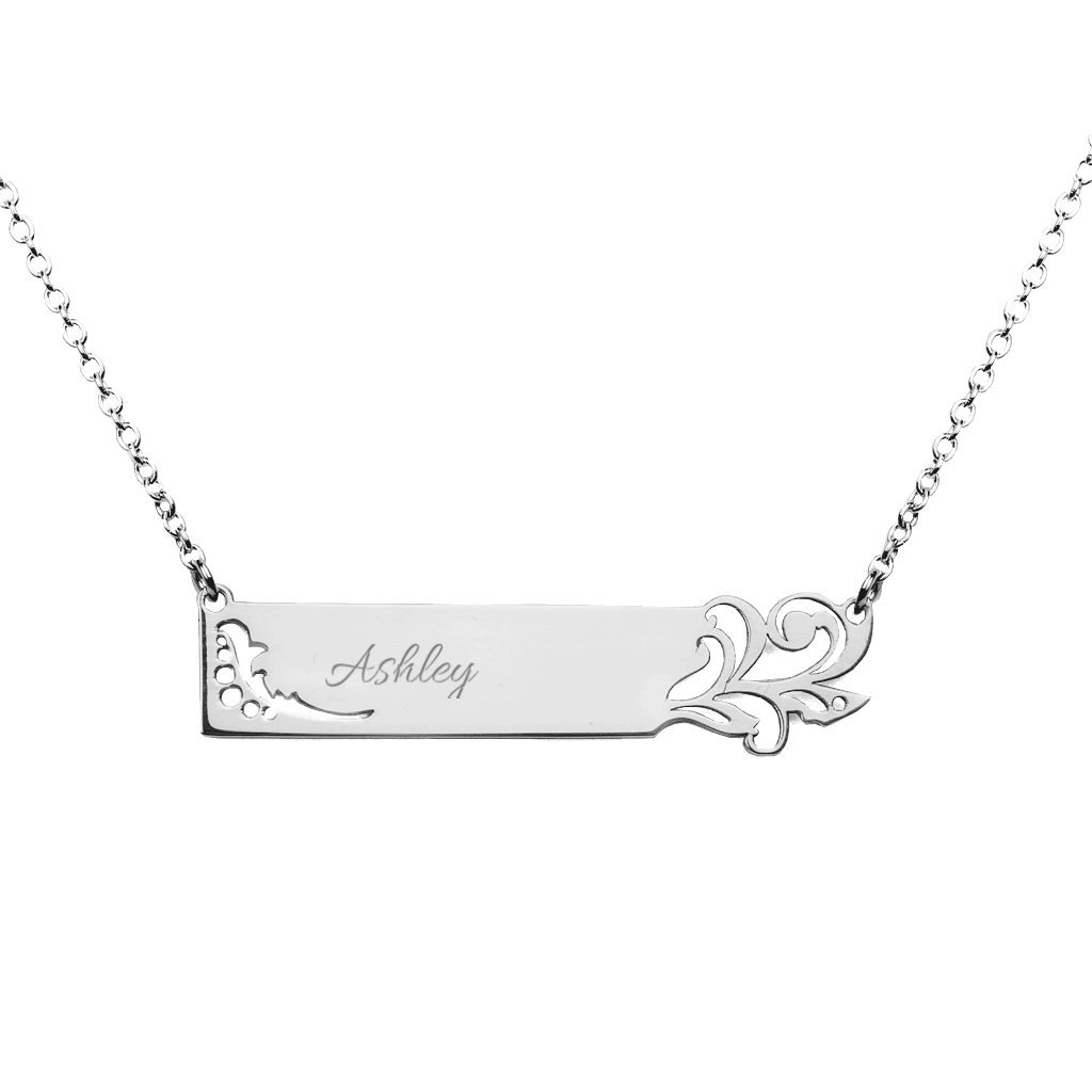 Sterling Silver Personalized Leaf Stylized Name Bar Pendant by JEWLR