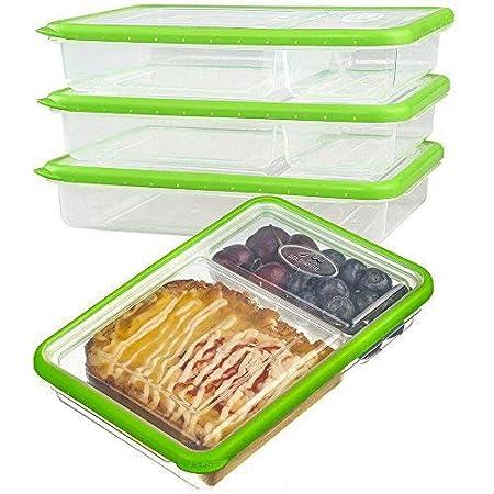 Plastico Contenedor Alimentos Hermetico - Juegos de Recipientes Comida Microondas - Apilables Fiambreras Bento 2-compartimentos - Tapers para comida ...