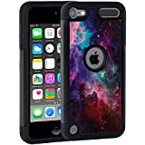 iPod Touch 6 Case,iPod Touch 5 Case,Rossy Blue Nebula Galaxy Space Universe Pattern Shock-Absorption Hybrid Dual Layer Armor Defender Protective Case Cove for Apple iPod touch 5 6th Generation