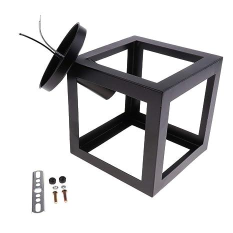 Tubayia - Lámpara de techo con diseño de jaulas negras, E27 ...
