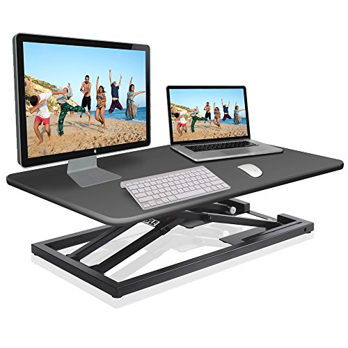 Pyle Ergonomic Standing Desk & PC Monitor Riser - Up to 18 inch Height Adjustable Laptop & Computer Table - Black Sit & Stand Folding Desktop Workstation Converter for Office or Gaming Use - PDRIS08 ()