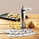 TOPCHANCES Cookie Press Kit-Stainless Steel Cookie Press with Disks Storage Case and Icing Gun