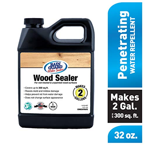 Rain Guard Water Sealers SP-8002 Wood Sealer Concentrate Covers up to 400 Sq. Ft. 1 Quart Makes 2 gallons - Clear Waterproof Sealer (Outdoor Wood Sealant)