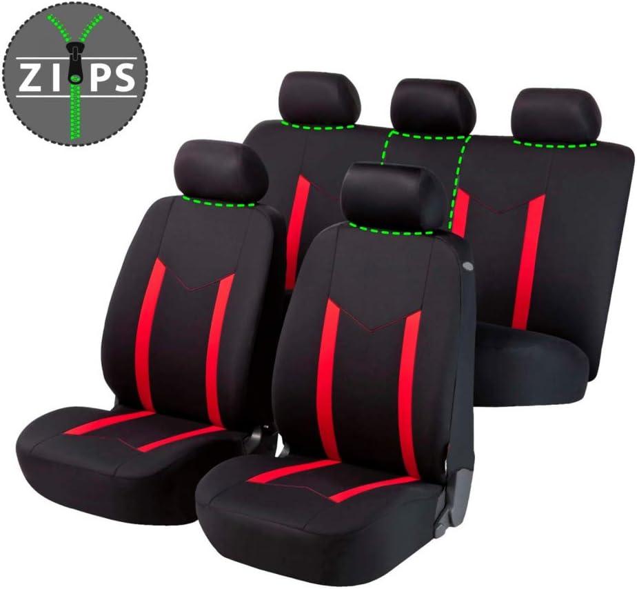 rmg-distribuzione 1820 Coprisedili per Dacia SANDERO compatibili con Modelli 2008-2012 2012-2015 Colore Nero Rosso 2015-in Poi